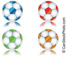 quatre, footballs, multi-coloré