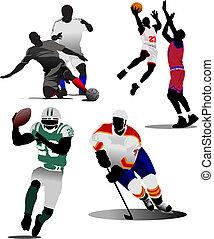 quatre, genres, de, sport équipe, game., vecteur, illustration
