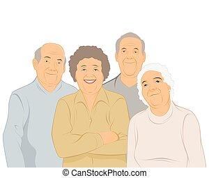 quatre, gens âgés