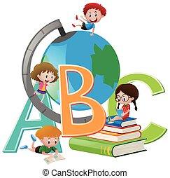 quatre, globe, livres, enfants