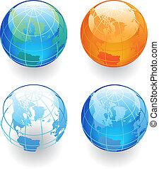 quatre, globes