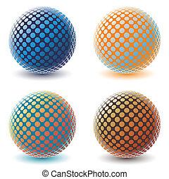 quatre, globes., coloré, numérique