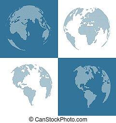 quatre, globes, ensemble, pointillé, 3d