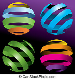 quatre, globes, résumé, vecteur