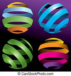 quatre, globes, vecteur