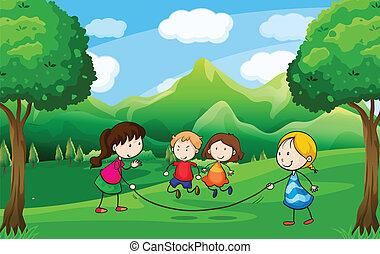 quatre, gosses, extérieur, jouer, arbres