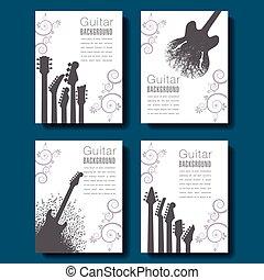 quatre, guitare, résumé, arrière-plans