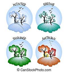 quatre, hiver, printemps, automne, seasons., été