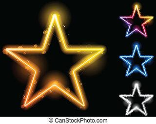 quatre, incandescent, ensemble, néon, étoiles