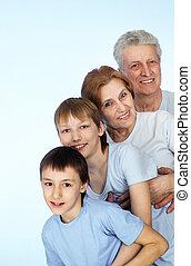 quatre, joli, famille caucasienne