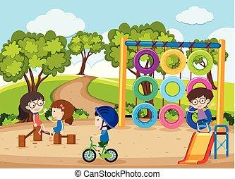 quatre, jouer, cour de récréation, enfants