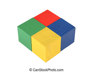 quatre, jouet, cubes