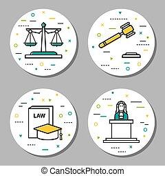 quatre, judiciaire, linéaire, rond, icônes