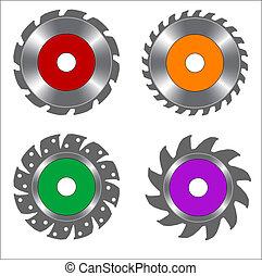 quatre, lame, scie, circulaire