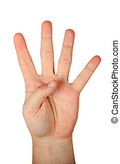 quatre, mâle, doigts, geste, main