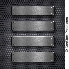 quatre, métal, plaques, sur, arrière-plan grille