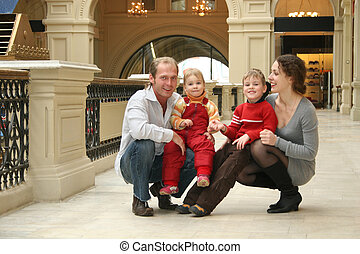 quatre, magasin, famille