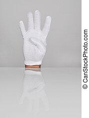 quatre, main, doigts, pointage, haut.
