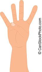 quatre, main haut, doigts