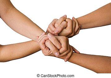 quatre mains, autre, tenue, chaque