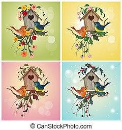 quatre, maison, oiseau, saison