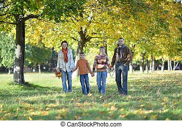 quatre, marche, automne, famille, parc
