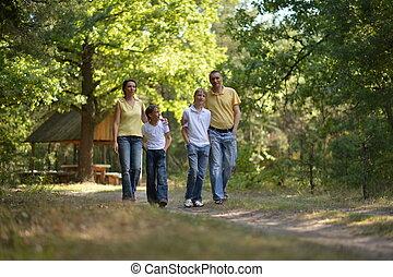 quatre, marche, famille, parc, automne, portrait, heureux
