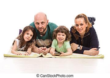 quatre, membres famille, heureux