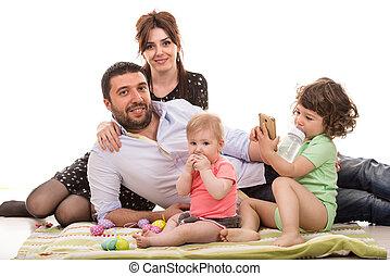 quatre, membres famille