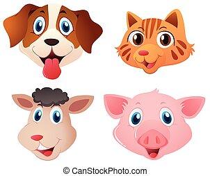 quatre, mignon, animaux, types