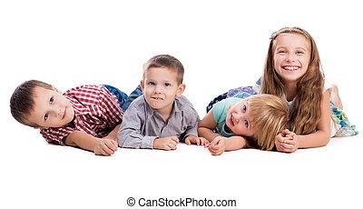quatre, mignon, enfants, mensonge, plancher
