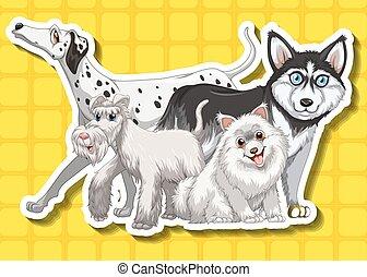 quatre, mignon, fond, jaune, chiens