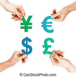quatre, monnaie, tenue, symboles, mains