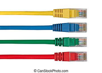 quatre, multi, câbles, coloré, réseau