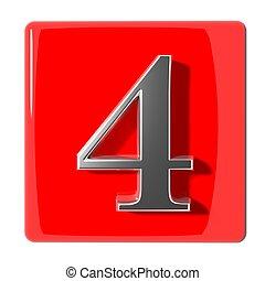 quatre, nombre, icône
