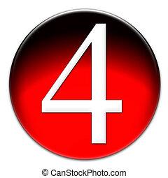 quatre, nombre, vitreux, bouton