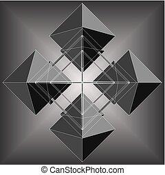 quatre, octahedron, faire, rhomb, ge...