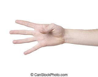 quatre, ouvert, doigts, main