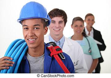 quatre, ouvriers, à, différent, professions