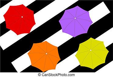 quatre, parapluies, raies, fond