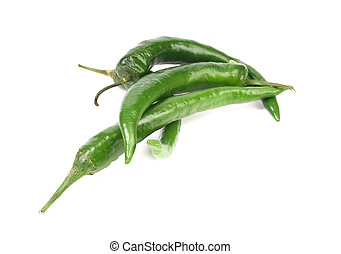 quatre, peppers., vert