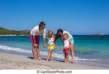 quatre, plage, italie, vacances, famille