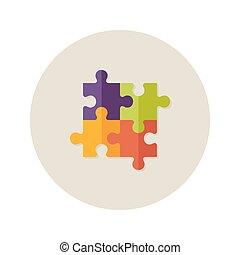 quatre, plat, puzzle, collaboration, icône