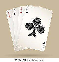 quatre, poker, enjôleur, complet, as, cartes, main, jouer