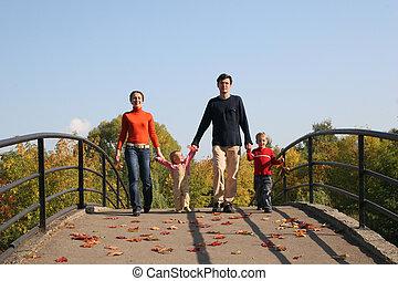 quatre, pont, famille