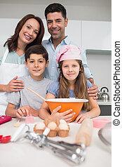 quatre, portrait, cuisine, biscuits, préparer, famille
