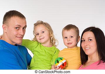 quatre, portrait, famille, heureux