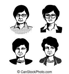 quatre, portrait, femmes