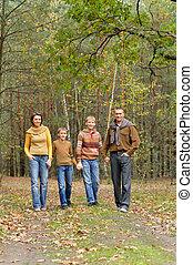 quatre, portrait, parc, famille