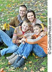 quatre, portrait, parc, famille, séance